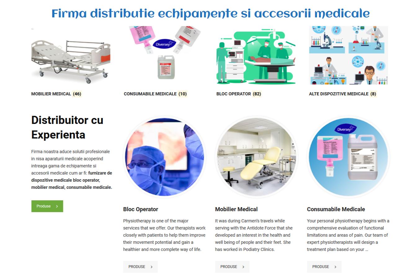 Realizare site firma furnizare echipamente medicale