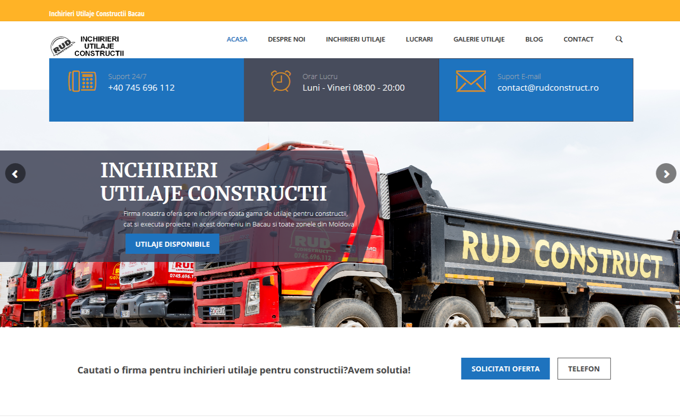 creare site inchiriere utilaje constructie