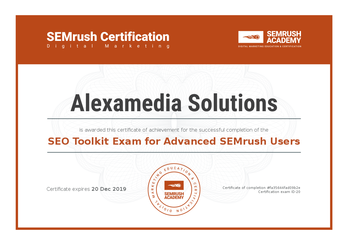 SEMrush Academy Certificate Advanced SEO