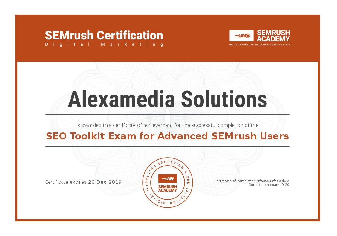 SEMrush Academy Certificate Advanced SEO