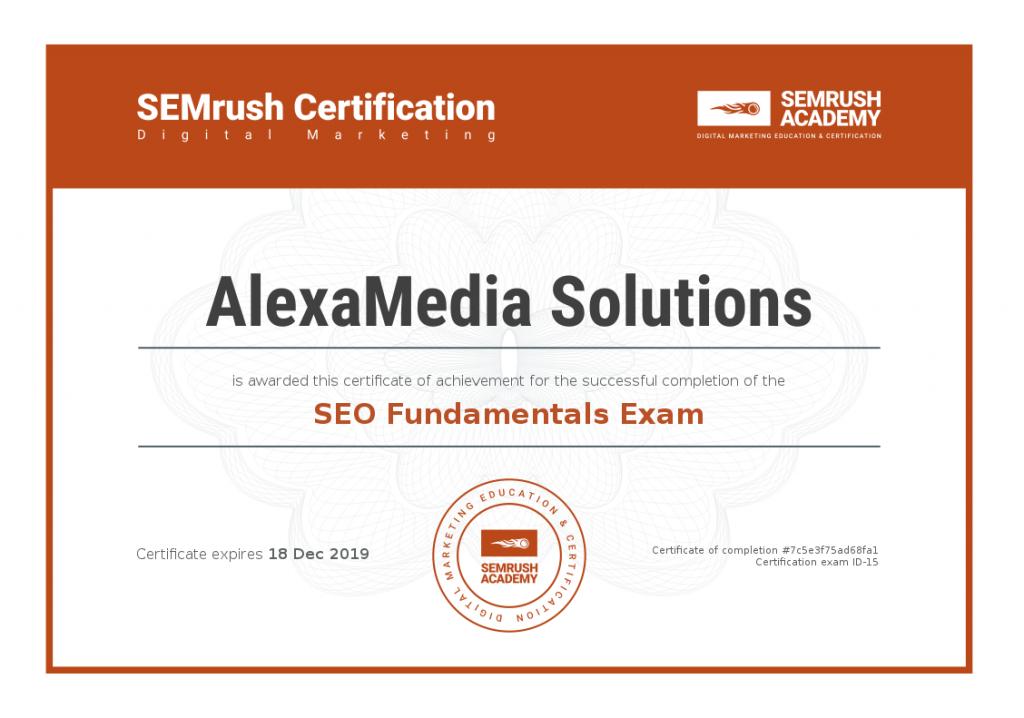 SEMrush Academy Certificate-SEO-Fundamentals