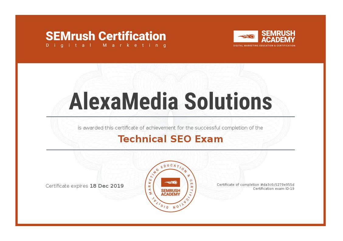 SEMrush Academy Certificate-Technical-SEO